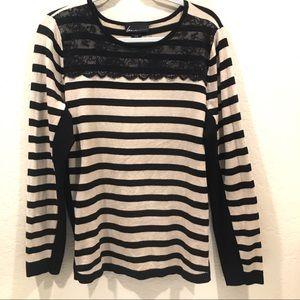 Lane Bryant light weight sweater Black/ Tan Lace